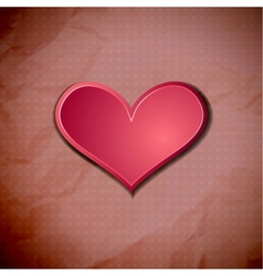 Heart on old crumpled card vector image
