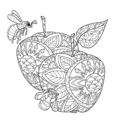 Honey apple doodle and bees vector
