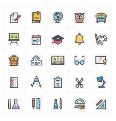 icon set - school and education full color vector image
