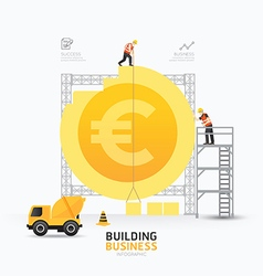 Infographic business euro coin shape template vector image