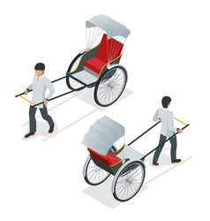 Isometric hand pulled rickshaw rickshaw china or vector