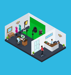 Isometric photo studio concept vector