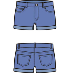 Jean shorts front and back vector
