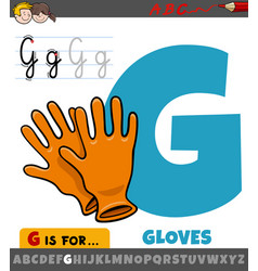 Letter g from alphabet with cartoon gloves vector