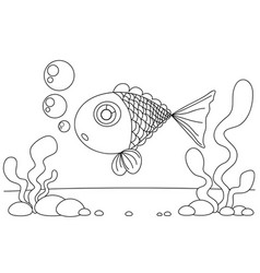 line drawing fish and seaweed for kids painting vector image