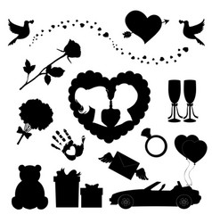 love icons set of 14 editable filled valentines vector image