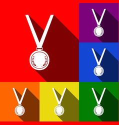 medal simple sign set of icons with flat vector image