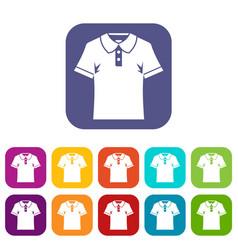men polo shirt icons set flat vector image
