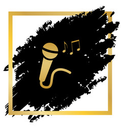 Microphone sign with music notes golden vector