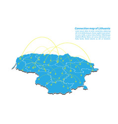 Modern of lithuania map connections network vector