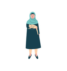 Muslim woman in hijab holding cat on her hands vector