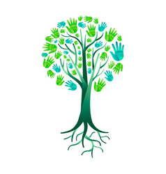 Nature hand tree for green environment help vector