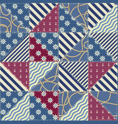 Nautical patchwork pattern vector
