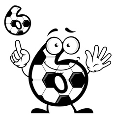 Number six with soccer ball skin and smiling face vector
