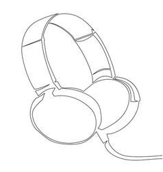one line headphones hand drawn vector image