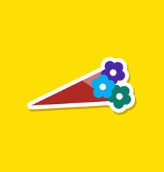 Paper sticker on stylish background bouquet vector