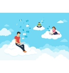 People sitting on the clouds in sky and using vector