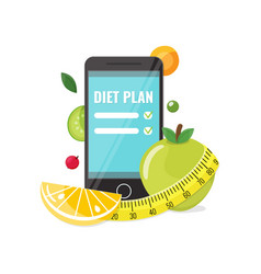 Phone with app of diet plan vector