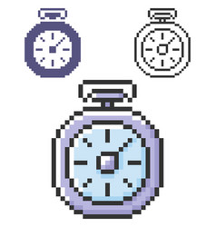 Pixel icon stopwatch in three variants fully vector