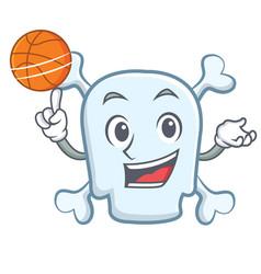 Playing basketball skull character cartoon style vector
