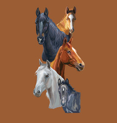 Postcard with horses 2 vector