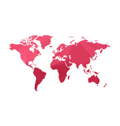red low poly world map vector image