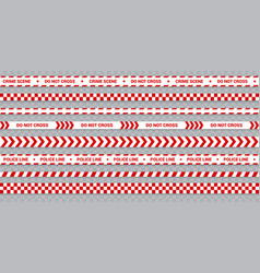 Red police line set caution and danger tape for vector