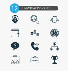 resources icons set collection of partnership vector image