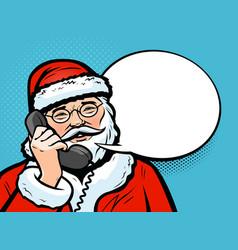 santa claus talking on phone christmas vector image