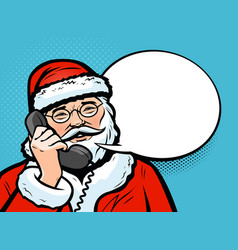 santa claus talking on the phone christmas vector image