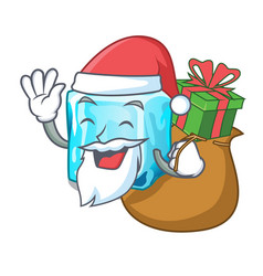Santa with gift ice cubes on the cartoon funny vector