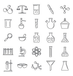 science laboratory icon set outline style vector image