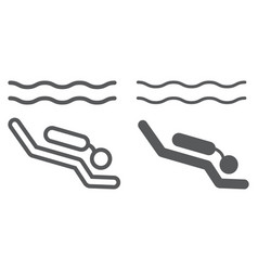 scuba diving line and glyph icon diving vector image