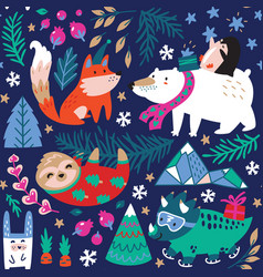 seamless pattern whimsical forest with winter vector image