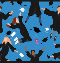 Seamless pattern with young graduate students vector