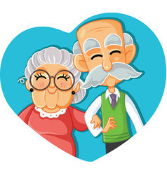 Senior couple in love cartoon vector