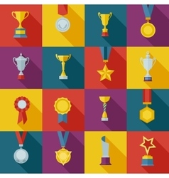 Set flat awards icons vector