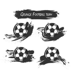 set of football or soccer with watercolor paint vector image