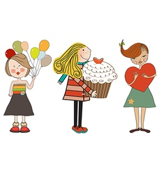 set of three happy young girls with gifts isolated vector image