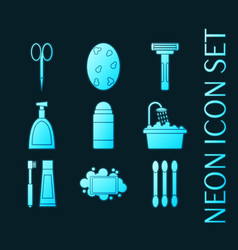 set personal hygiene glowing neon icons vector image