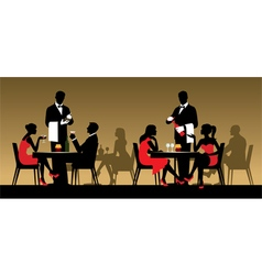 Silhouettes of people in a restaurant vector image