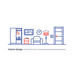 Simple interior apartment design services line vector