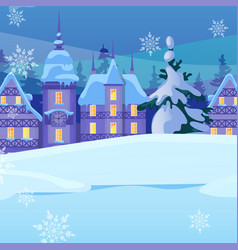 sketch for christmas poster with cozy small houses vector image