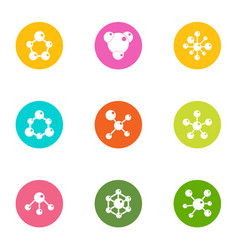 Study of chemistry icons set flat style vector