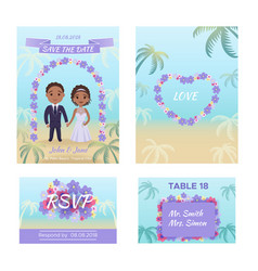 summer wedding invitation cars vector image