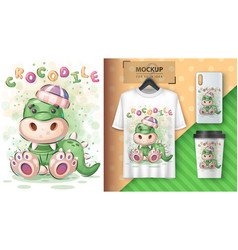 teddy crocodile poster and merchandising vector image