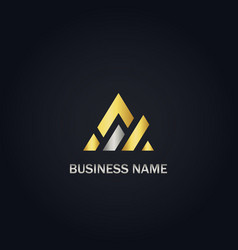 Triangle shape business gold logo vector