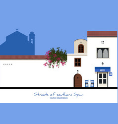 Typical street in southern spain hotel and chairs vector