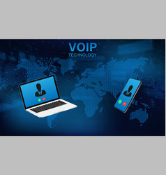 voip call system voice phone technology vector image