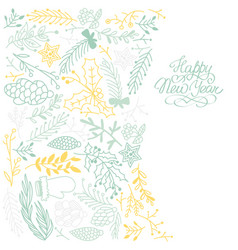 yellow and blue happy new year hand drawn sketch vector image